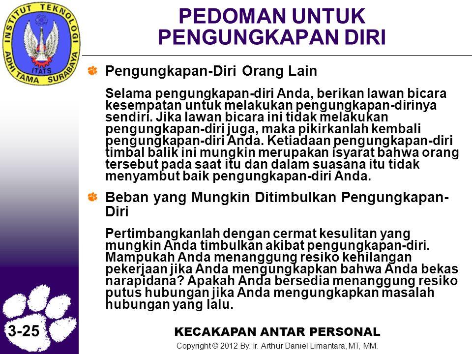 KECAKAPAN ANTAR PERSONAL Copyright © 2012 By. Ir. Arthur Daniel Limantara, MT, MM. 3-25 PEDOMAN UNTUK PENGUNGKAPAN DIRI Pengungkapan-Diri Orang Lain S