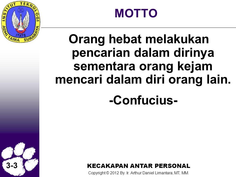 KECAKAPAN ANTAR PERSONAL Copyright © 2012 By. Ir. Arthur Daniel Limantara, MT, MM. 3-3 MOTTO Orang hebat melakukan pencarian dalam dirinya sementara o
