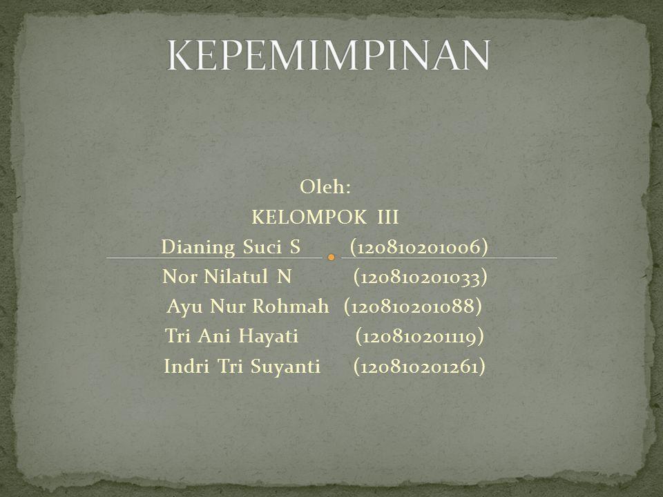 Oleh: KELOMPOK III Dianing Suci S (120810201006) Nor Nilatul N (120810201033) Ayu Nur Rohmah (120810201088) Tri Ani Hayati (120810201119) Indri Tri Suyanti (120810201261)