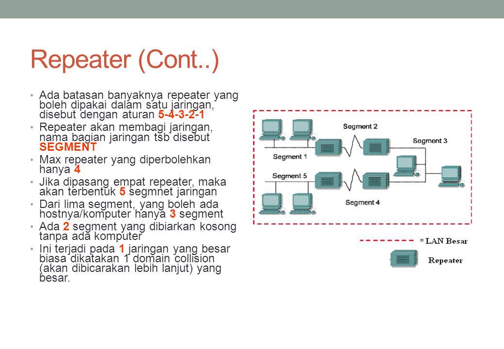Repeater (Cont..) Ada batasan banyaknya repeater yang boleh dipakai dalam satu jaringan, disebut dengan aturan 5-4-3-2-1 Repeater akan membagi jaringa