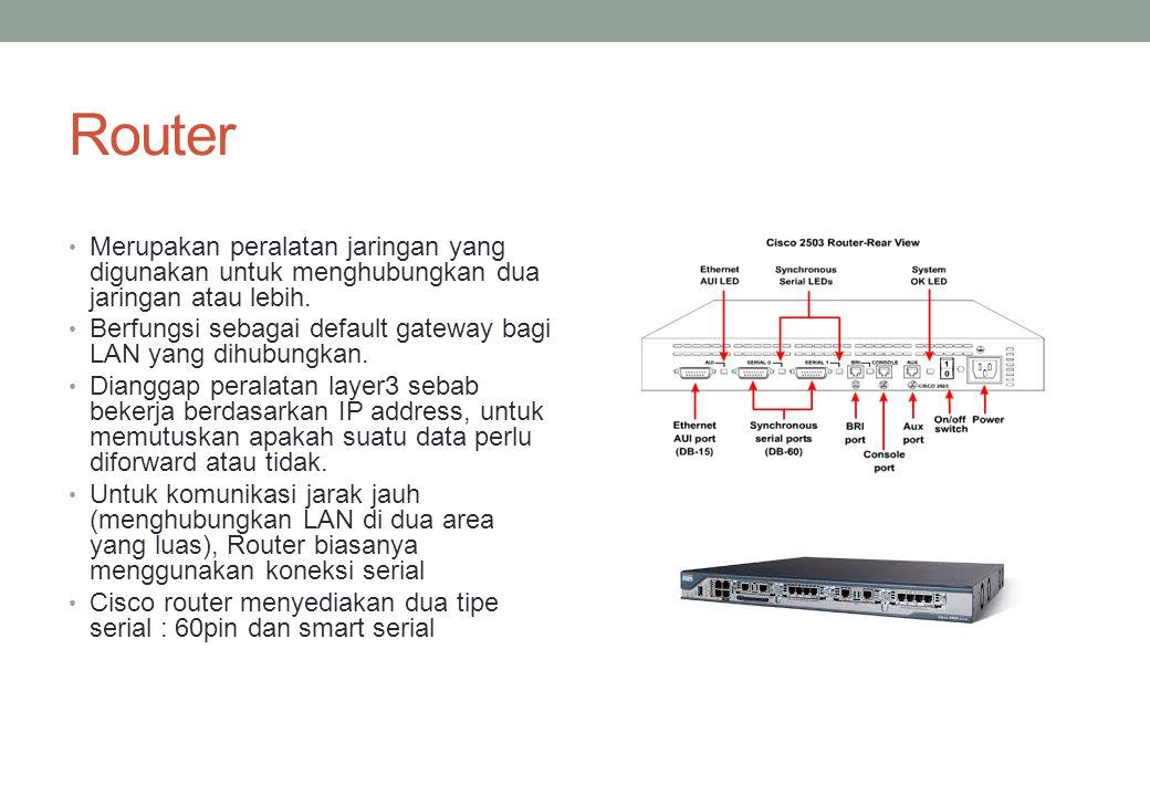 Router Merupakan peralatan jaringan yang digunakan untuk menghubungkan dua jaringan atau lebih. Berfungsi sebagai default gateway bagi LAN yang dihubu