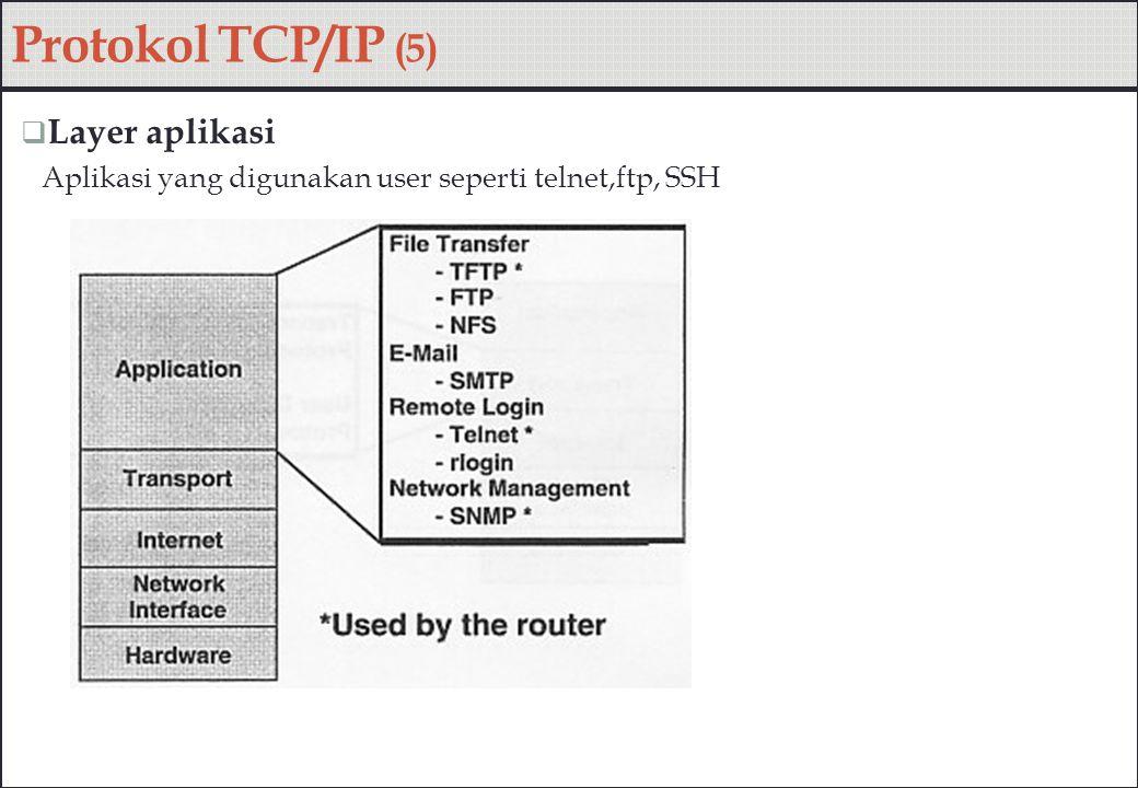 Protokol TCP/IP (5)  Layer aplikasi Aplikasi yang digunakan user seperti telnet,ftp, SSH