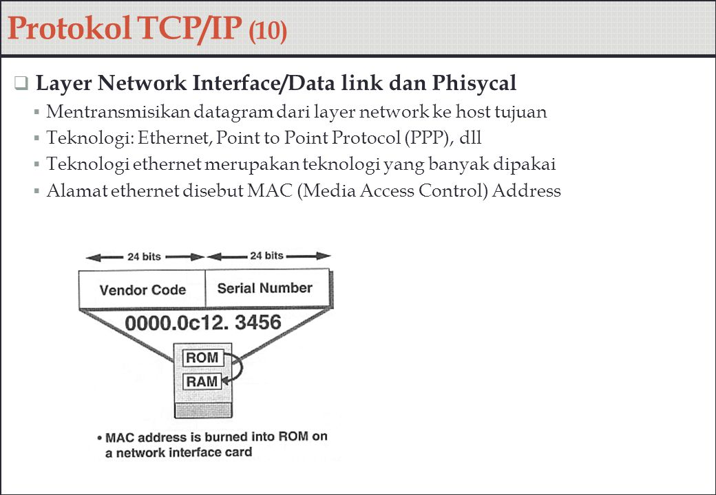 Protokol TCP/IP (10)  Layer Network Interface/Data link dan Phisycal  Mentransmisikan datagram dari layer network ke host tujuan  Teknologi: Ethern
