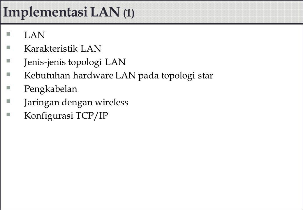 Implementasi LAN (1)  LAN  Karakteristik LAN  Jenis-jenis topologi LAN  Kebutuhan hardware LAN pada topologi star  Pengkabelan  Jaringan dengan