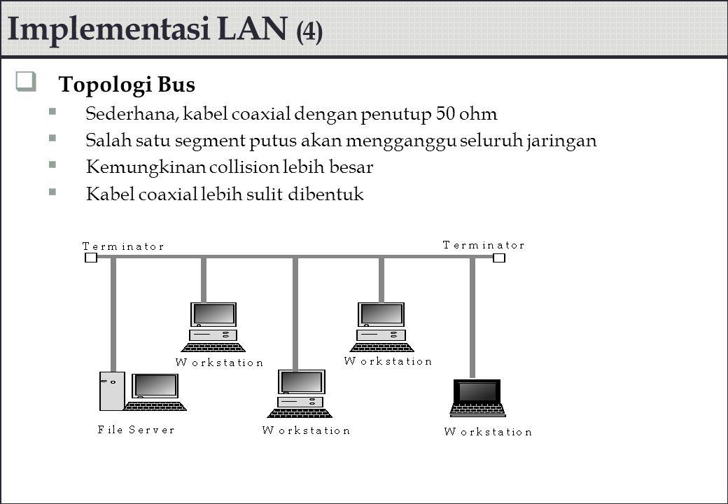 Implementasi LAN (4)  Topologi Bus  Sederhana, kabel coaxial dengan penutup 50 ohm  Salah satu segment putus akan mengganggu seluruh jaringan  Kem