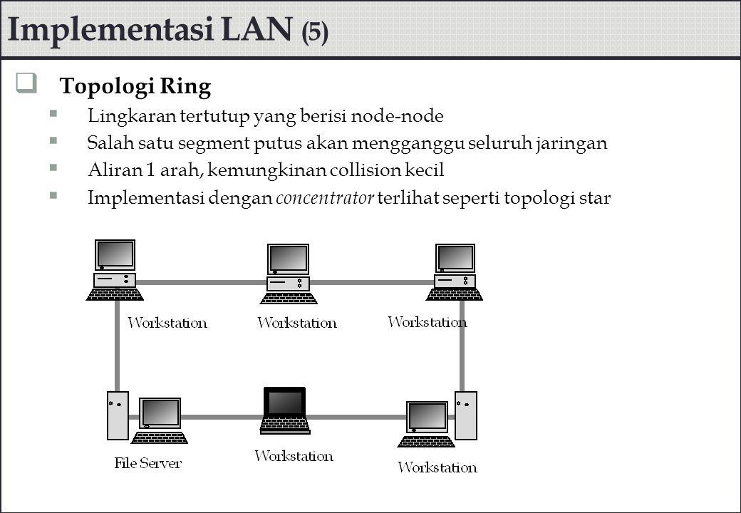 Implementasi LAN (5)  Topologi Ring  Lingkaran tertutup yang berisi node-node  Salah satu segment putus akan mengganggu seluruh jaringan  Aliran 1