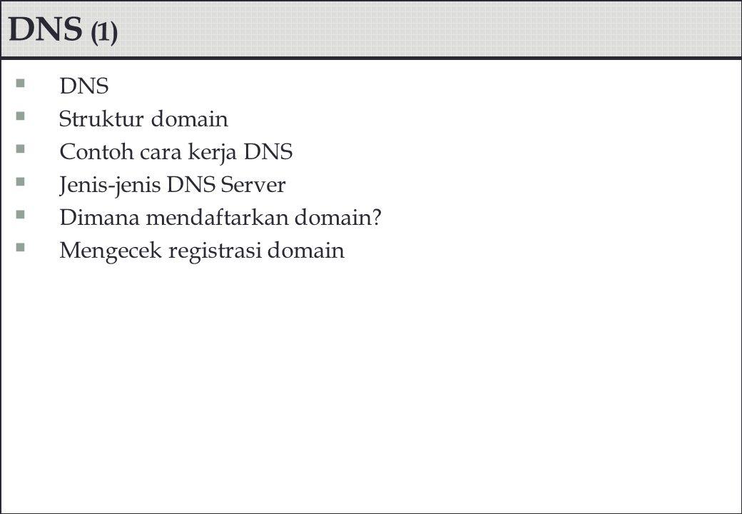 DNS (1)  DNS  Struktur domain  Contoh cara kerja DNS  Jenis-jenis DNS Server  Dimana mendaftarkan domain?  Mengecek registrasi domain