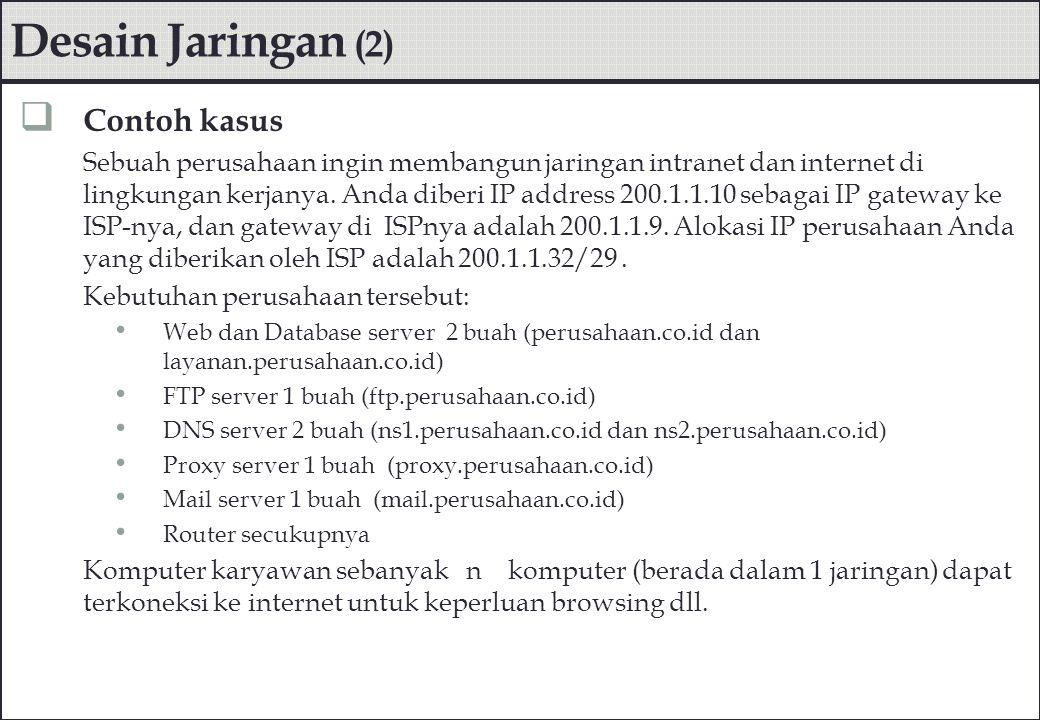 Desain Jaringan (2)  Contoh kasus Sebuah perusahaan ingin membangun jaringan intranet dan internet di lingkungan kerjanya. Anda diberi IP address 200
