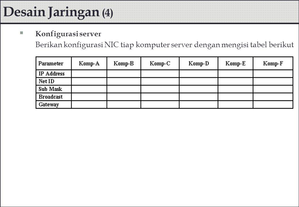 Desain Jaringan (4)  Konfigurasi server Berikan konfigurasi NIC tiap komputer server dengan mengisi tabel berikut