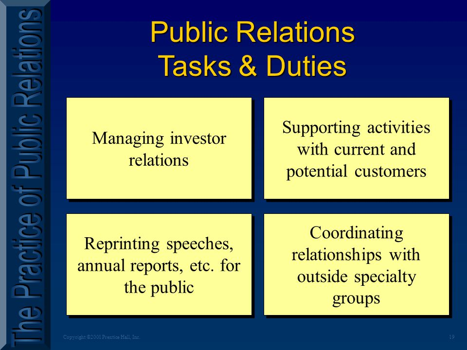 19Copyright ©2001 Prentice Hall, Inc. Public Relations Tasks & Duties Managing investor relations Supporting activities with current and potential cus