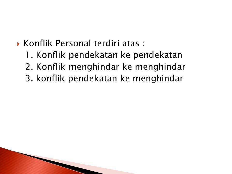  Konflik Personal terdiri atas : 1. Konflik pendekatan ke pendekatan 2. Konflik menghindar ke menghindar 3. konflik pendekatan ke menghindar