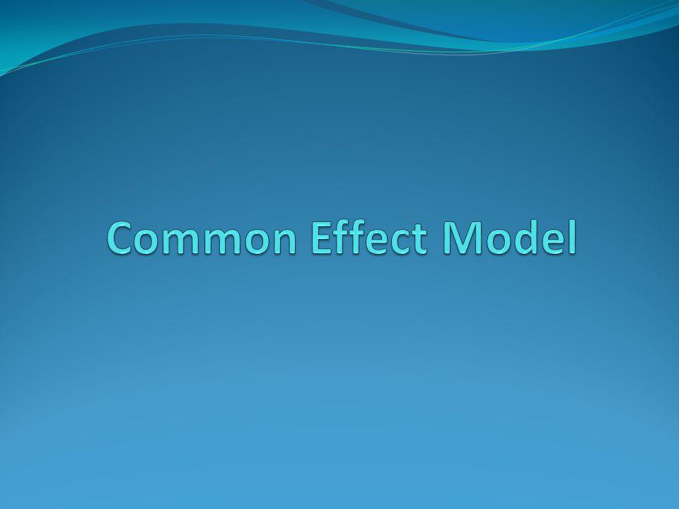 Common Effect Model Model CEM mengasumsikan bahwa slope koefisien dari semua variabel adalah identik untuk semua individu.
