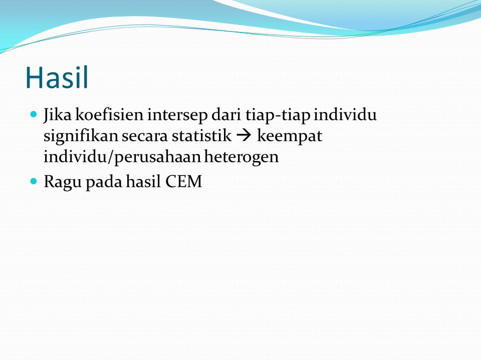 Hasil Jika koefisien intersep dari tiap-tiap individu signifikan secara statistik  keempat individu/perusahaan heterogen Ragu pada hasil CEM