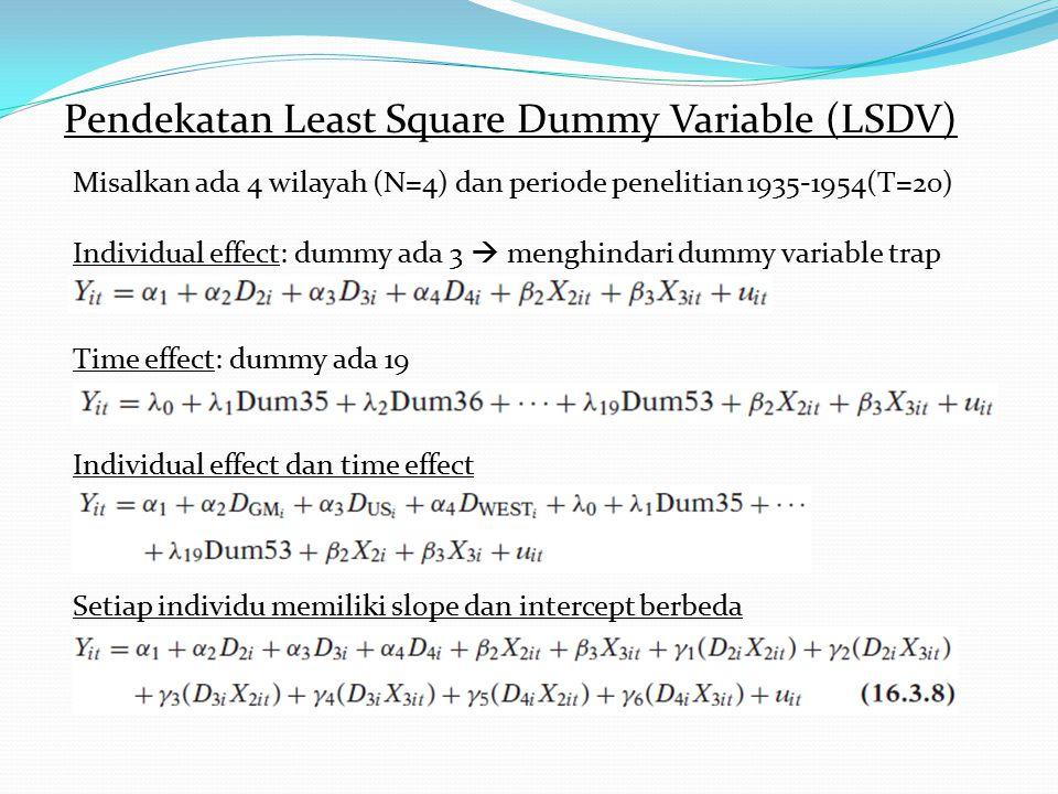Pendekatan Least Square Dummy Variable (LSDV) Misalkan ada 4 wilayah (N=4) dan periode penelitian 1935-1954(T=20) Individual effect: dummy ada 3  men