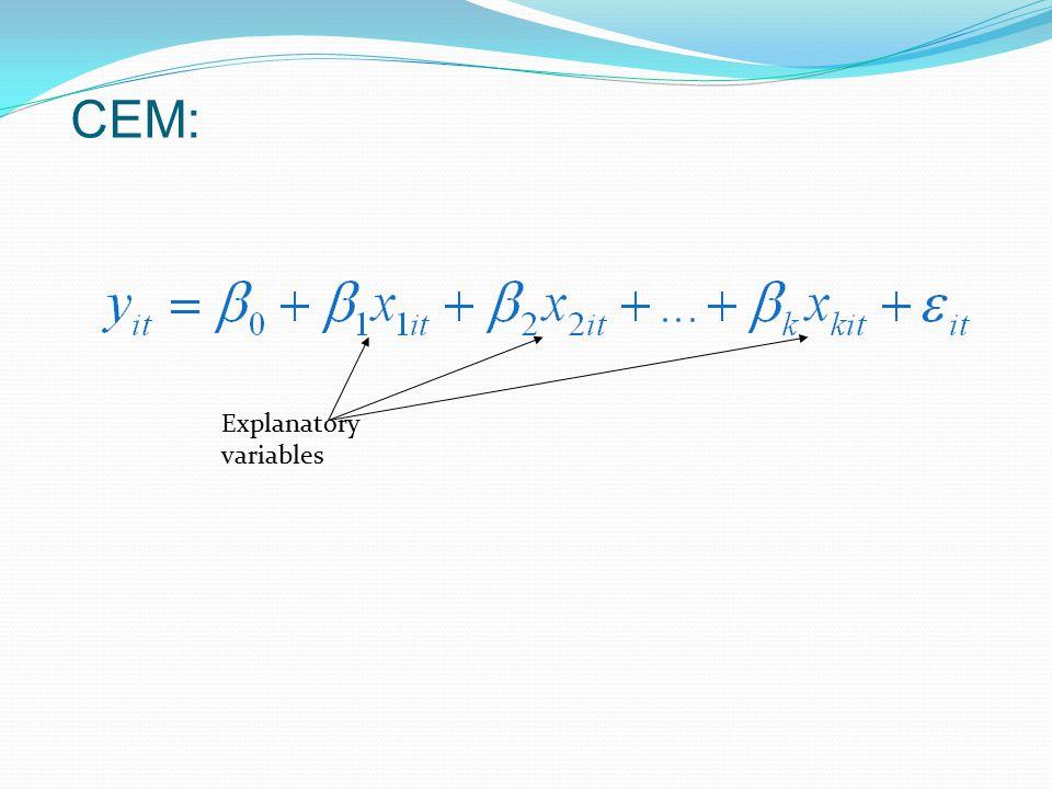 CEM: Explanatory variables