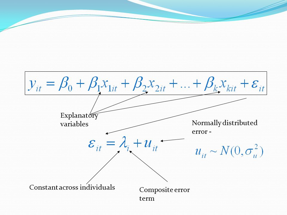 Composite error term Constant across individuals Normally distributed error - Explanatory variables