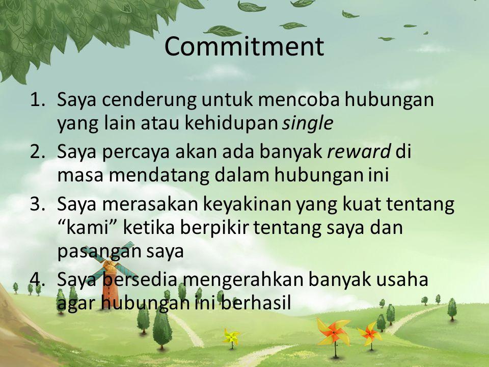 Commitment 1.Saya cenderung untuk mencoba hubungan yang lain atau kehidupan single 2.Saya percaya akan ada banyak reward di masa mendatang dalam hubungan ini 3.Saya merasakan keyakinan yang kuat tentang kami ketika berpikir tentang saya dan pasangan saya 4.Saya bersedia mengerahkan banyak usaha agar hubungan ini berhasil