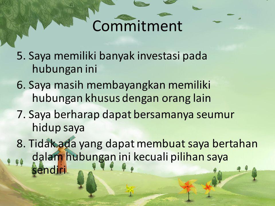 Commitment 5.Saya memiliki banyak investasi pada hubungan ini 6.