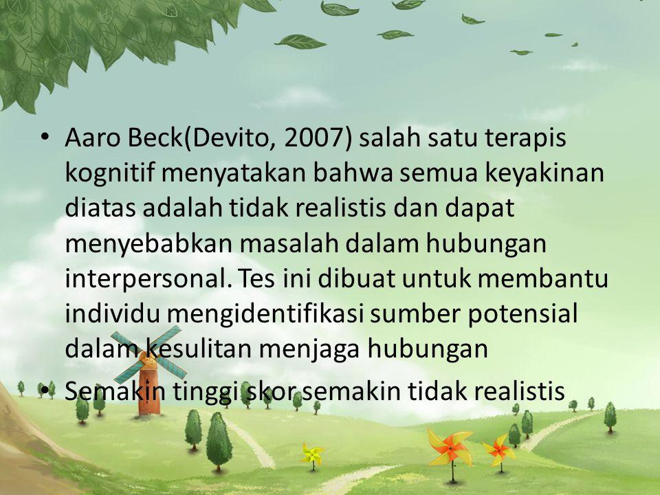 Aaro Beck(Devito, 2007) salah satu terapis kognitif menyatakan bahwa semua keyakinan diatas adalah tidak realistis dan dapat menyebabkan masalah dalam hubungan interpersonal.