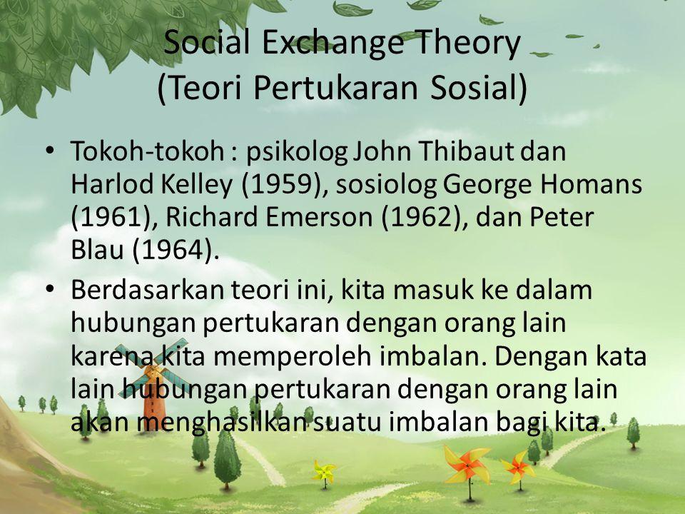 Social Exchange Theory (Teori Pertukaran Sosial) Tokoh-tokoh : psikolog John Thibaut dan Harlod Kelley (1959), sosiolog George Homans (1961), Richard Emerson (1962), dan Peter Blau (1964).