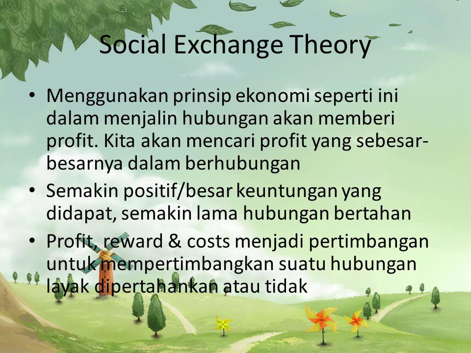 Social Exchange Theory Menggunakan prinsip ekonomi seperti ini dalam menjalin hubungan akan memberi profit.