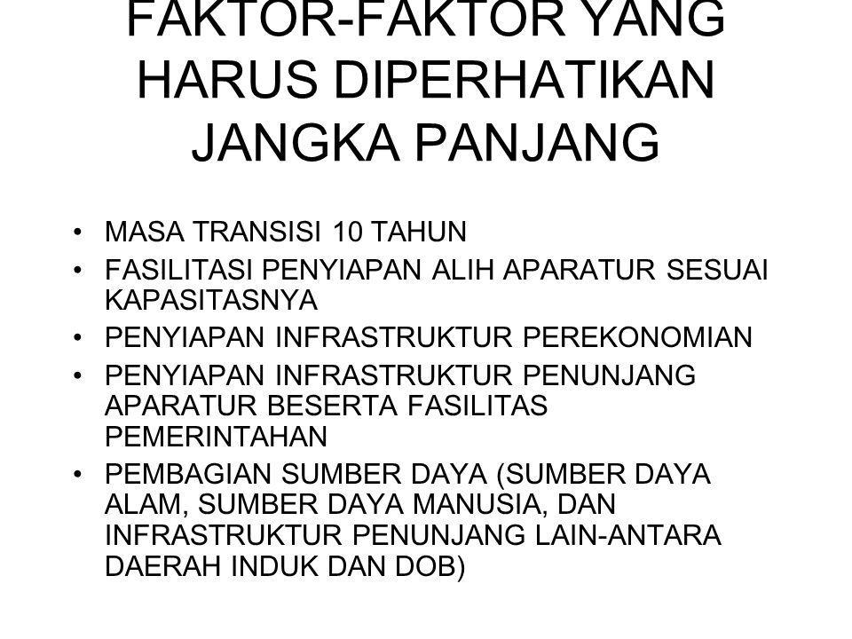 FAKTOR-FAKTOR YANG HARUS DIPERHATIKAN JANGKA PANJANG MASA TRANSISI 10 TAHUN FASILITASI PENYIAPAN ALIH APARATUR SESUAI KAPASITASNYA PENYIAPAN INFRASTRU