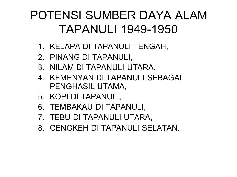 POTENSI SUMBER DAYA ALAM TAPANULI 1949-1950 1.KELAPA DI TAPANULI TENGAH, 2.PINANG DI TAPANULI, 3.NILAM DI TAPANULI UTARA, 4.KEMENYAN DI TAPANULI SEBAG