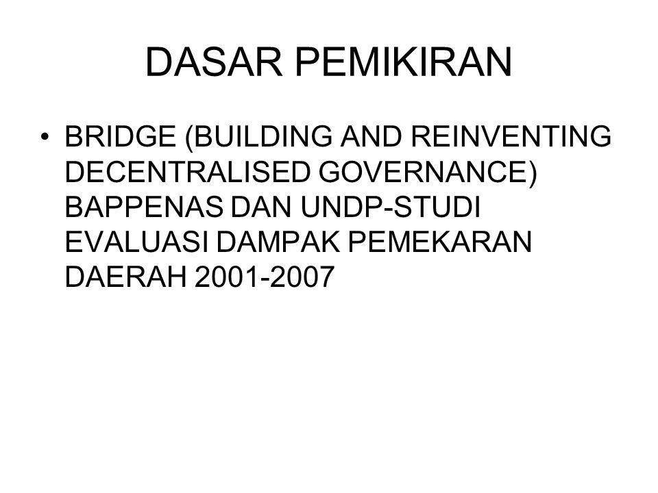 DASAR PEMIKIRAN BRIDGE (BUILDING AND REINVENTING DECENTRALISED GOVERNANCE) BAPPENAS DAN UNDP-STUDI EVALUASI DAMPAK PEMEKARAN DAERAH 2001-2007