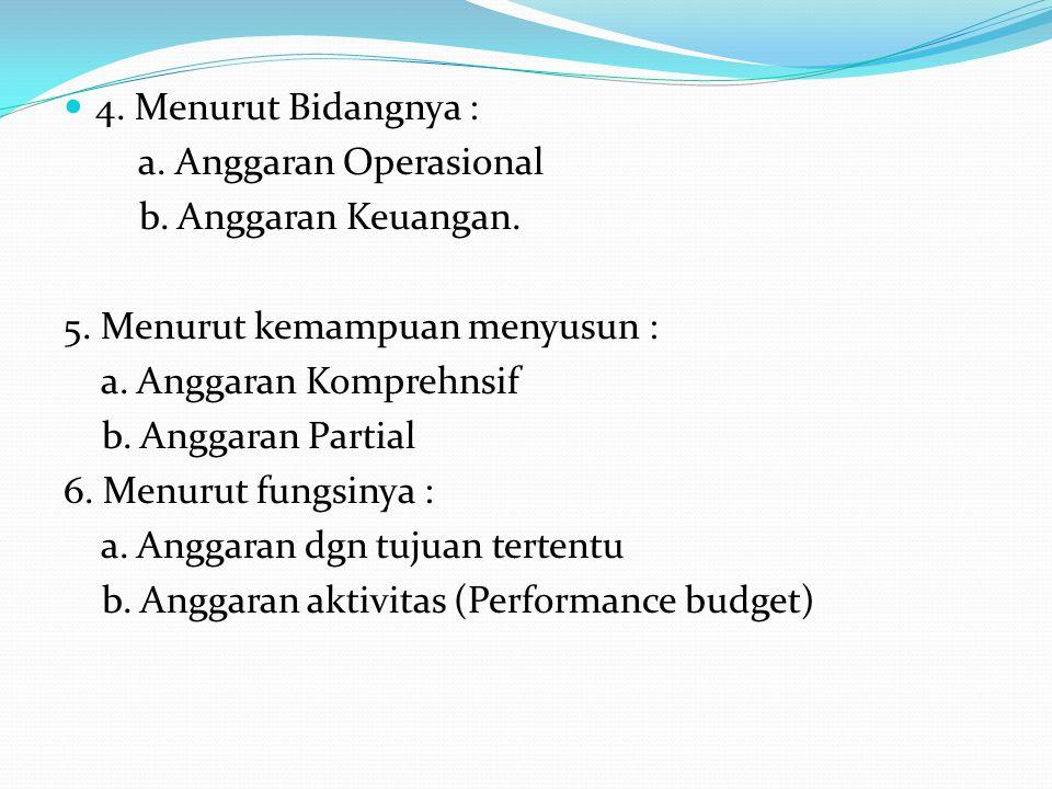 4. Menurut Bidangnya : a. Anggaran Operasional b. Anggaran Keuangan. 5. Menurut kemampuan menyusun : a. Anggaran Komprehnsif b. Anggaran Partial 6. Me