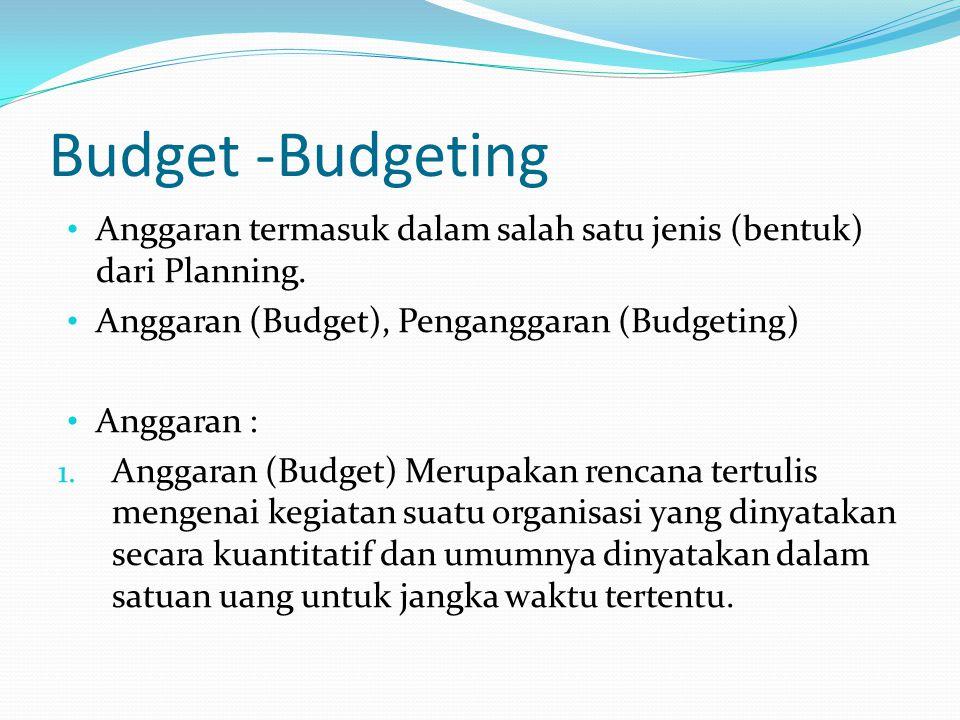 Budget -Budgeting Anggaran termasuk dalam salah satu jenis (bentuk) dari Planning. Anggaran (Budget), Penganggaran (Budgeting) Anggaran : 1. Anggaran
