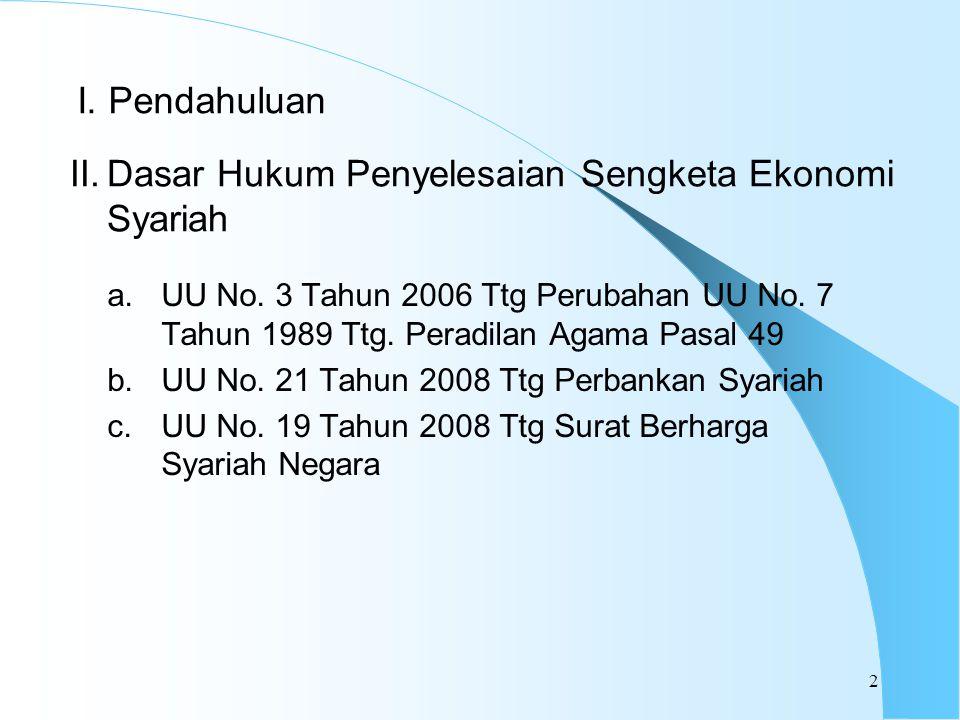I. Pendahuluan a.UU No. 3 Tahun 2006 Ttg Perubahan UU No. 7 Tahun 1989 Ttg. Peradilan Agama Pasal 49 b.UU No. 21 Tahun 2008 Ttg Perbankan Syariah c.UU