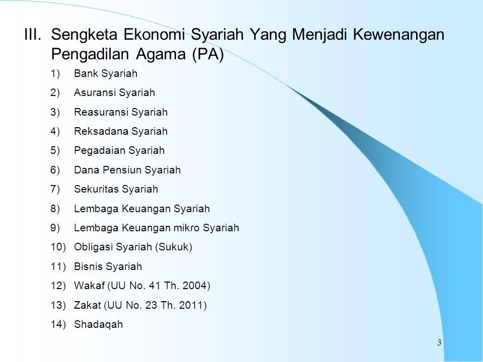 1)Bank Syariah 2)Asuransi Syariah 3)Reasuransi Syariah 4)Reksadana Syariah 5)Pegadaian Syariah 6)Dana Pensiun Syariah 7)Sekuritas Syariah 8)Lembaga Keuangan Syariah 9)Lembaga Keuangan mikro Syariah 10)Obligasi Syariah (Sukuk) 11)Bisnis Syariah 12)Wakaf (UU No.