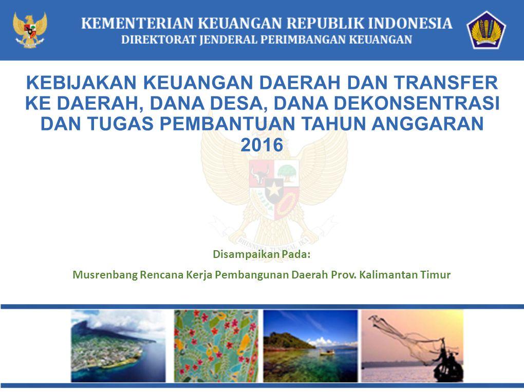 Disampaikan Pada: Musrenbang Rencana Kerja Pembangunan Daerah Prov. Kalimantan Timur KEBIJAKAN KEUANGAN DAERAH DAN TRANSFER KE DAERAH, DANA DESA, DANA