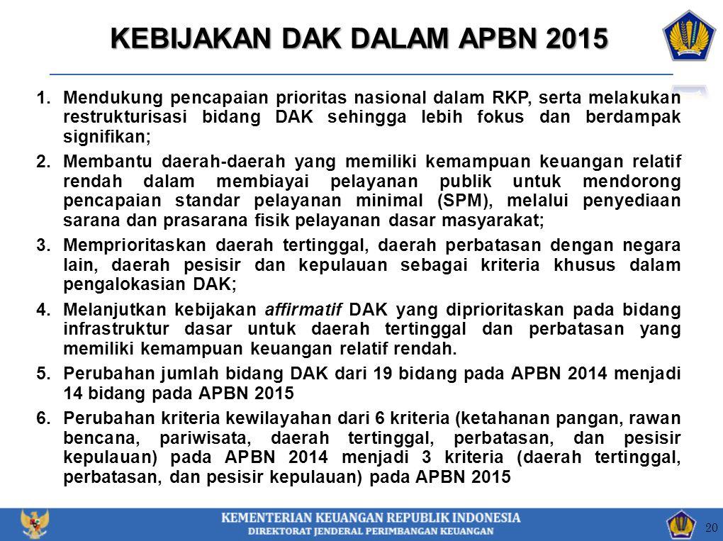 KEBIJAKAN DAK DALAM APBN 2015 1.Mendukung pencapaian prioritas nasional dalam RKP, serta melakukan restrukturisasi bidang DAK sehingga lebih fokus dan