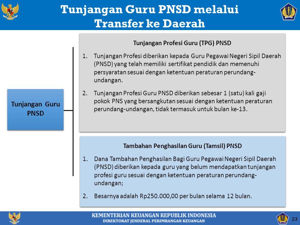 Tunjangan Guru PNSD Tunjangan Guru PNSD melalui Transfer ke Daerah Tunjangan Profesi Guru (TPG) PNSD 1.Tunjangan Profesi diberikan kepada Guru Pegawai