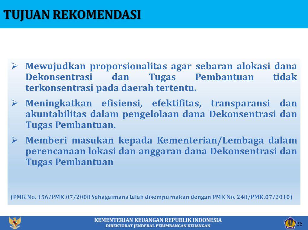  Mewujudkan proporsionalitas agar sebaran alokasi dana Dekonsentrasi dan Tugas Pembantuan tidak terkonsentrasi pada daerah tertentu.  Meningkatkan e