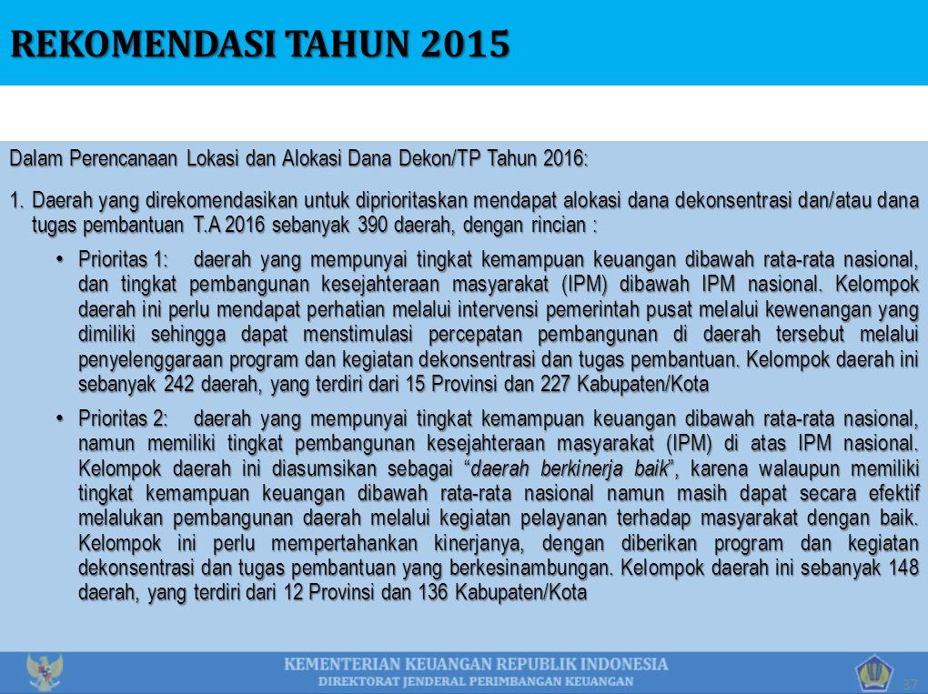 Dalam Perencanaan Lokasi dan Alokasi Dana Dekon/TP Tahun 2016: 1.Daerah yang direkomendasikan untuk diprioritaskan mendapat alokasi dana dekonsentrasi