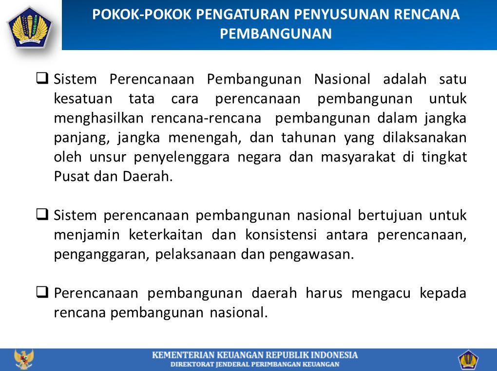 POKOK-POKOK PENGATURAN PENYUSUNAN RENCANA PEMBANGUNAN  Sistem Perencanaan Pembangunan Nasional adalah satu kesatuan tata cara perencanaan pembangunan