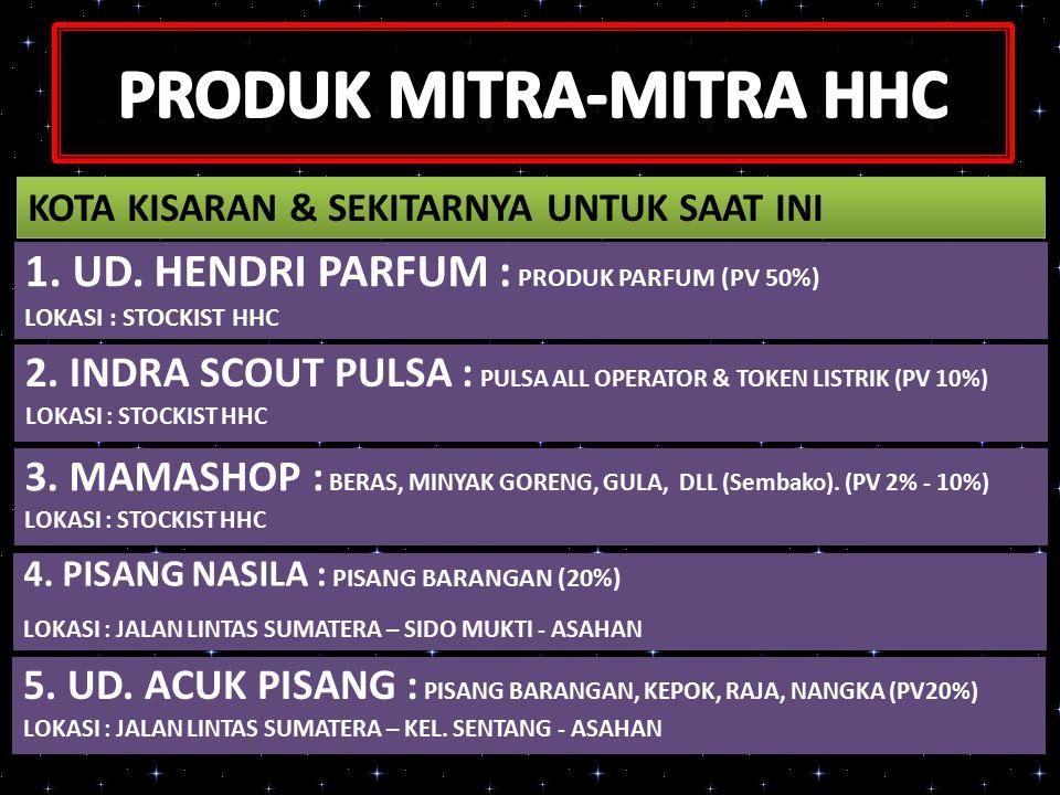1.UD. HENDRI PARFUM : PRODUK PARFUM (PV 50%) LOKASI : STOCKIST HHC 2.