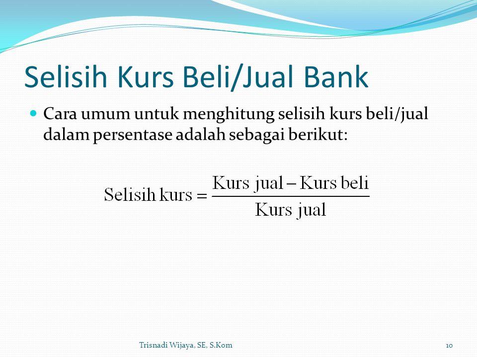 Selisih Kurs Beli/Jual Bank Trisnadi Wijaya, SE, S.Kom10 Cara umum untuk menghitung selisih kurs beli/jual dalam persentase adalah sebagai berikut: