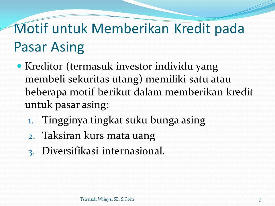 Motif untuk Memberikan Kredit pada Pasar Asing Kreditor (termasuk investor individu yang membeli sekuritas utang) memiliki satu atau beberapa motif be