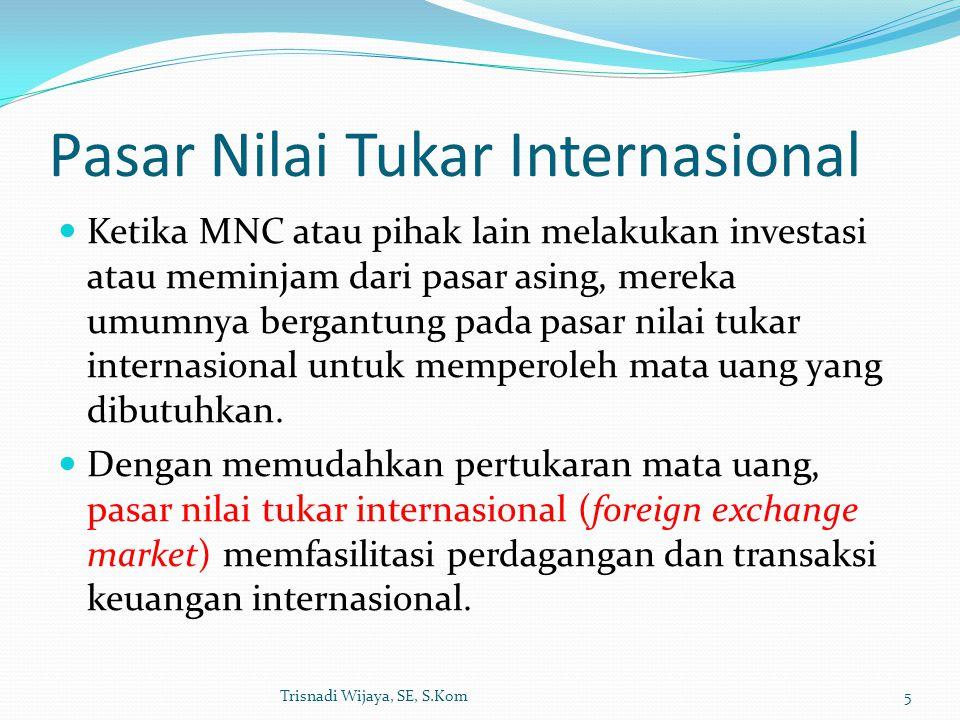 Pasar Nilai Tukar Internasional Ketika MNC atau pihak lain melakukan investasi atau meminjam dari pasar asing, mereka umumnya bergantung pada pasar ni