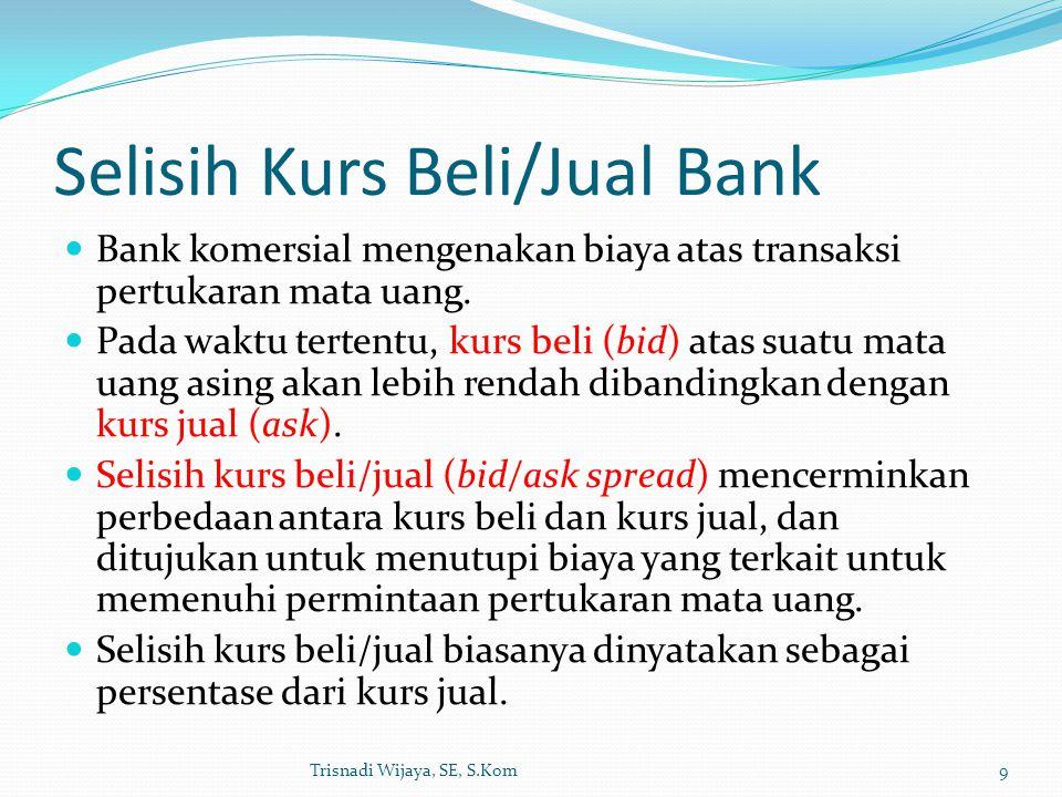 Selisih Kurs Beli/Jual Bank Bank komersial mengenakan biaya atas transaksi pertukaran mata uang. Pada waktu tertentu, kurs beli (bid) atas suatu mata