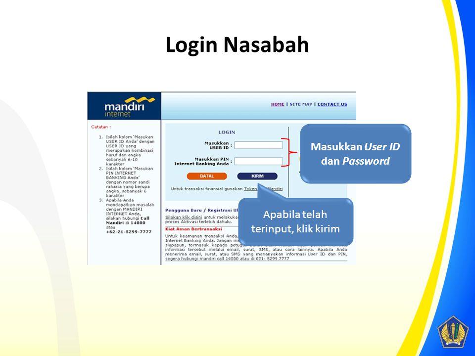 Login Nasabah Masukkan User ID dan Password Apabila telah terinput, klik kirim