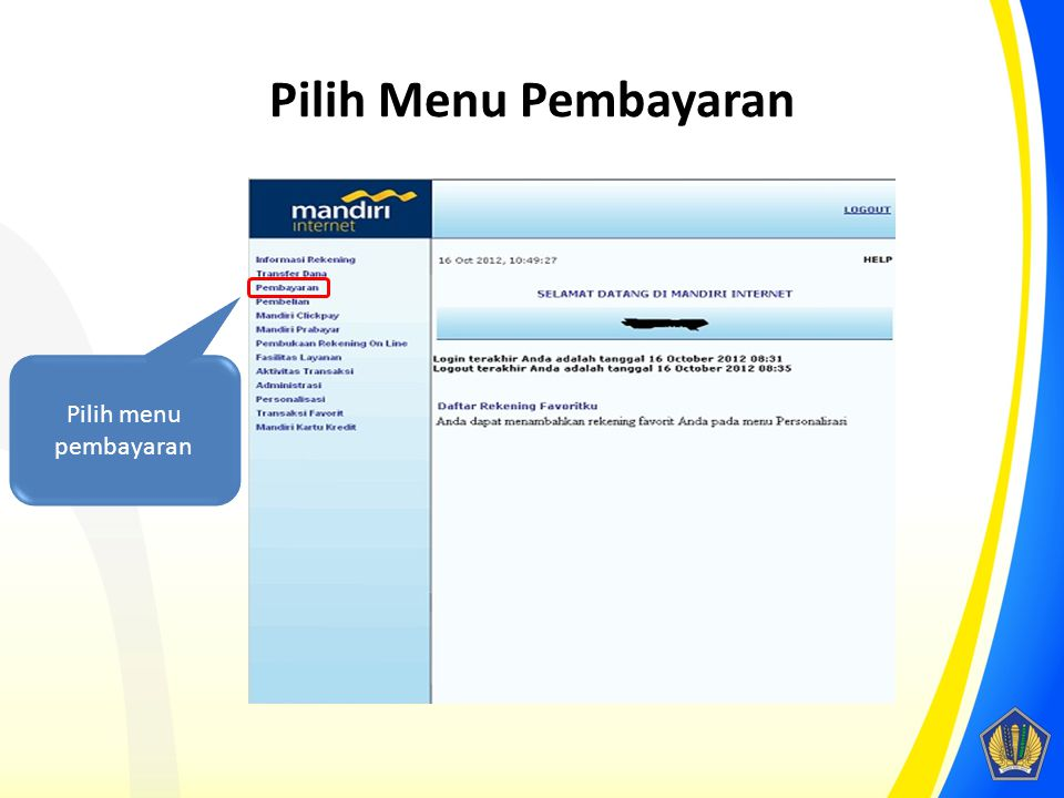 Pilih Menu Pembayaran Pilih menu pembayaran