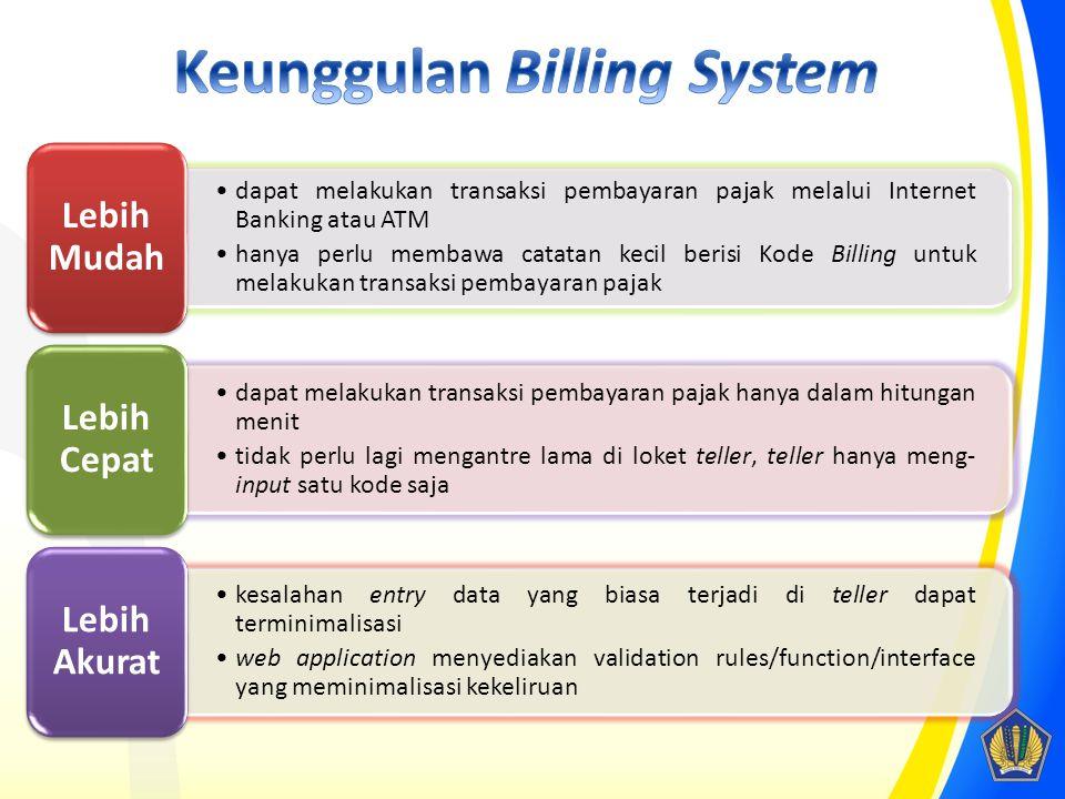 dapat melakukan transaksi pembayaran pajak melalui Internet Banking atau ATM hanya perlu membawa catatan kecil berisi Kode Billing untuk melakukan tra