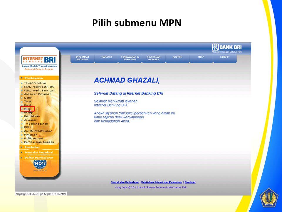 Pilih submenu MPN
