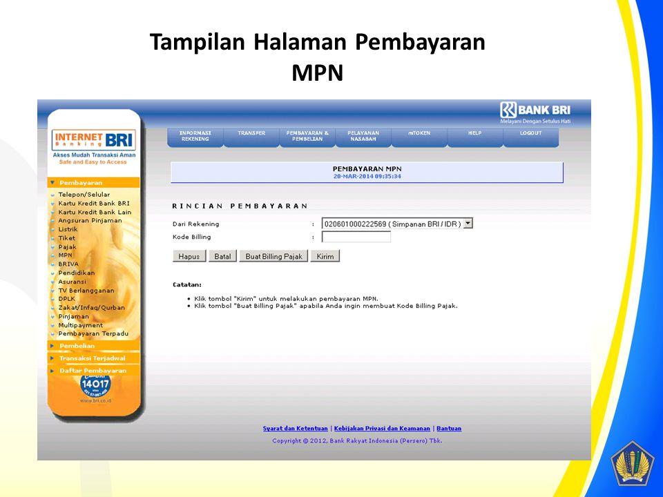 Tampilan Halaman Pembayaran MPN