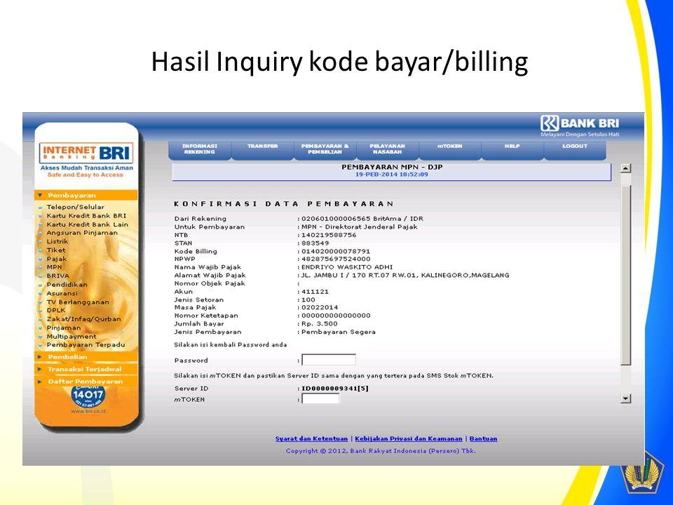 Hasil Inquiry kode bayar/billing