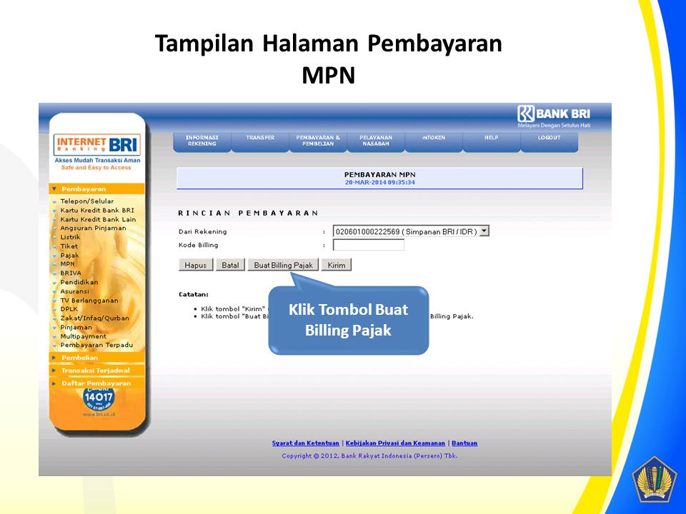 Klik Tombol Buat Billing Pajak Tampilan Halaman Pembayaran MPN